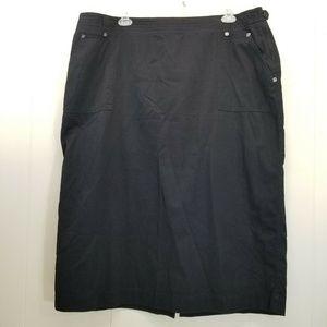 CJ Banks 24W Black Skirt Long Modest Back Slit
